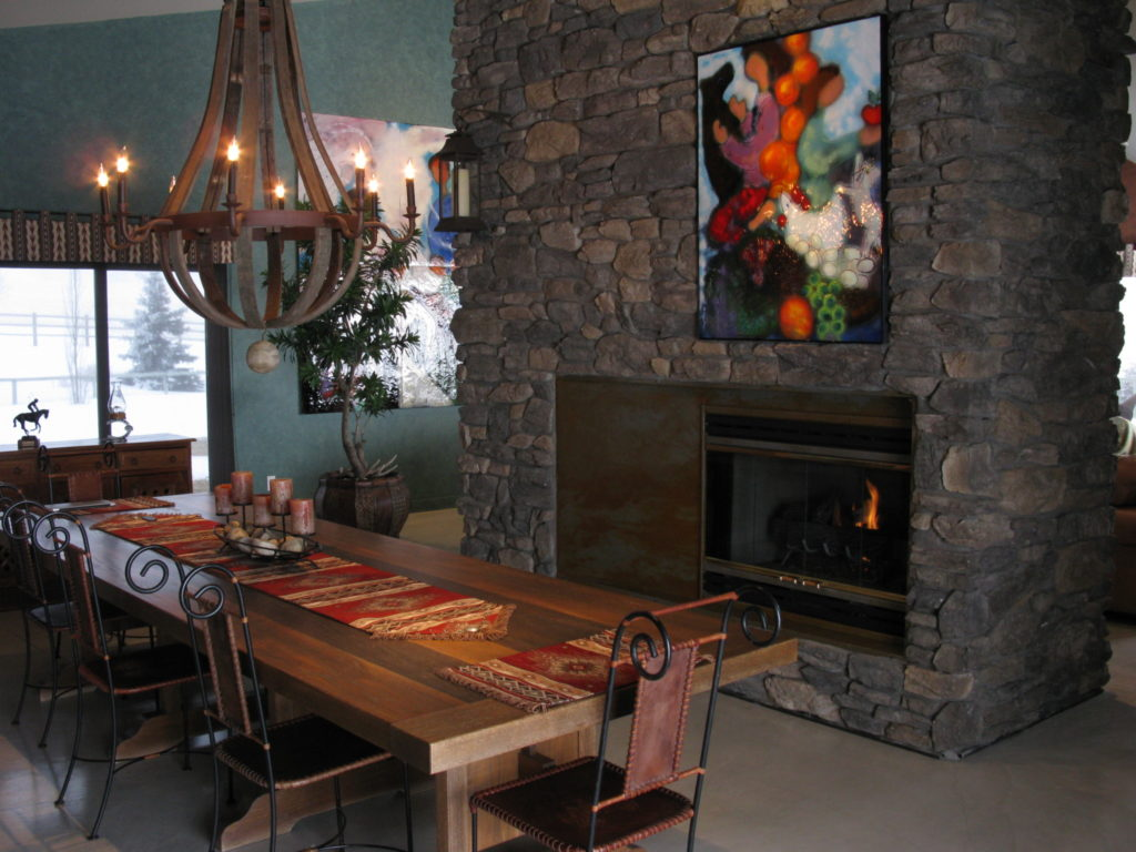 Rustic dining room fireplace ecostone products for Dining room with fireplace