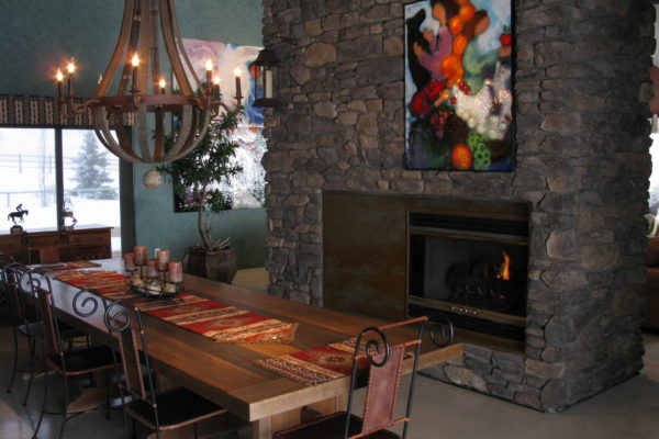 Rustic Dining Room Fireplace