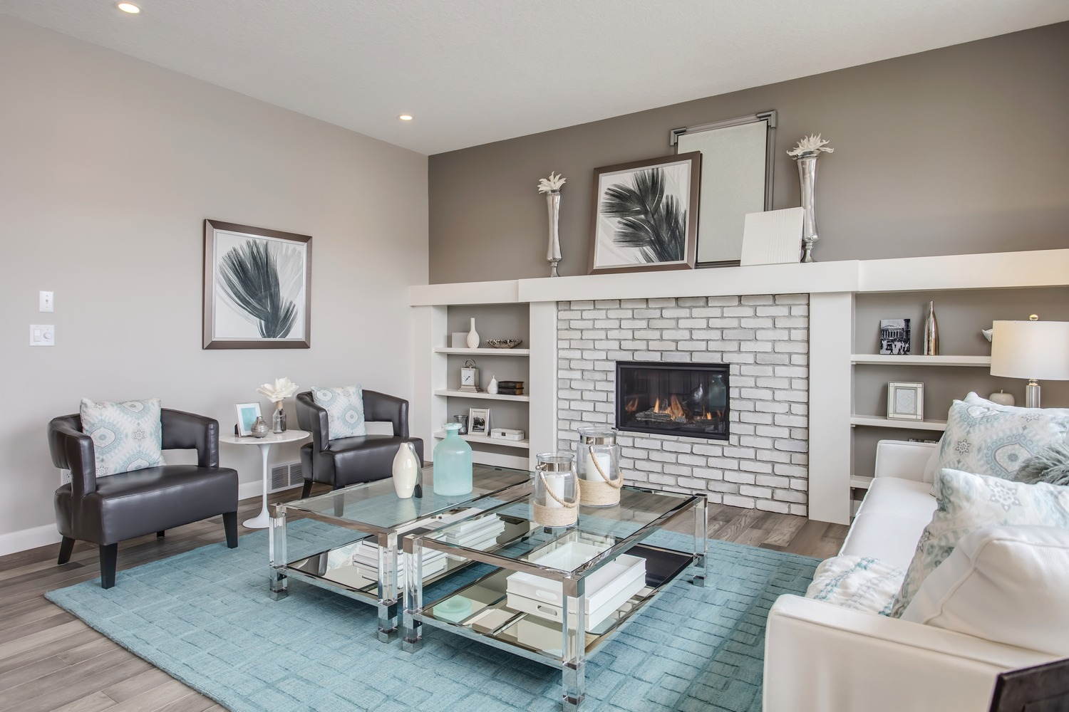 White Brick Fireplace With Shelves Ecostone Products